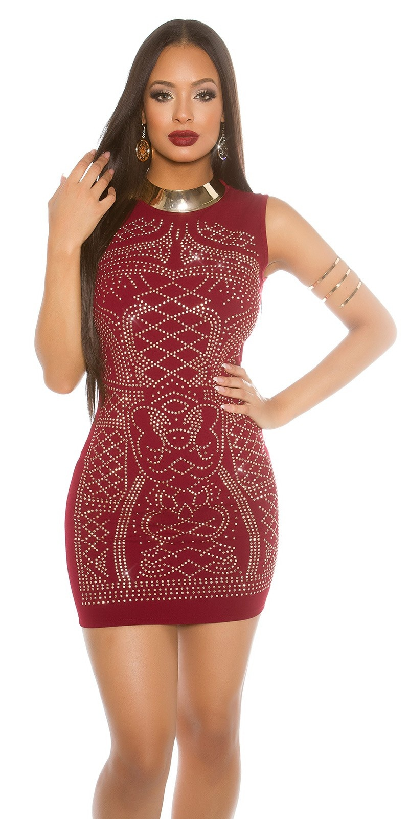 Party mini-jurk met studs patroon Bordeaux