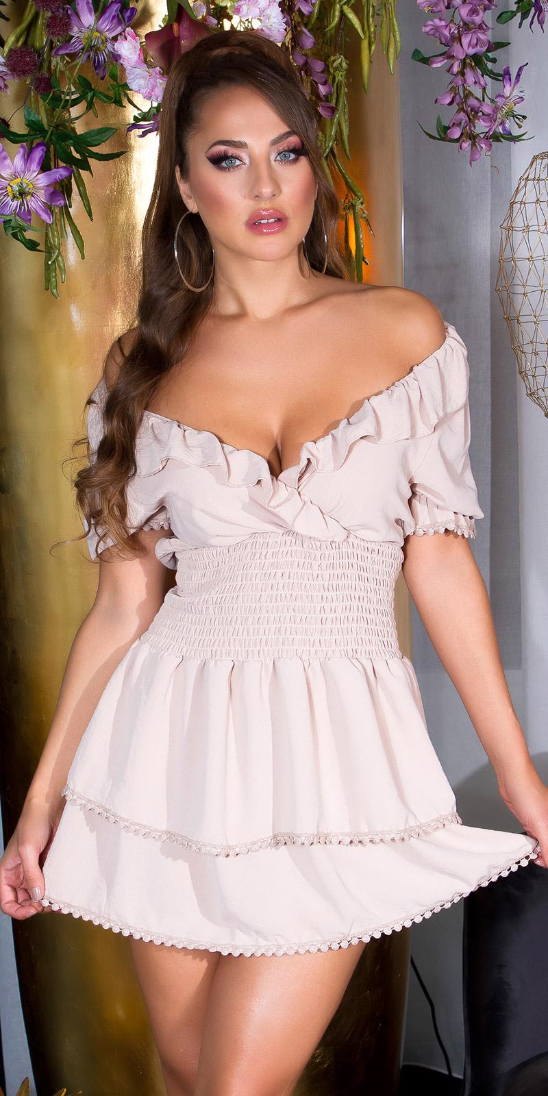 Sexy v-halter feminine jurk met ruches beige
