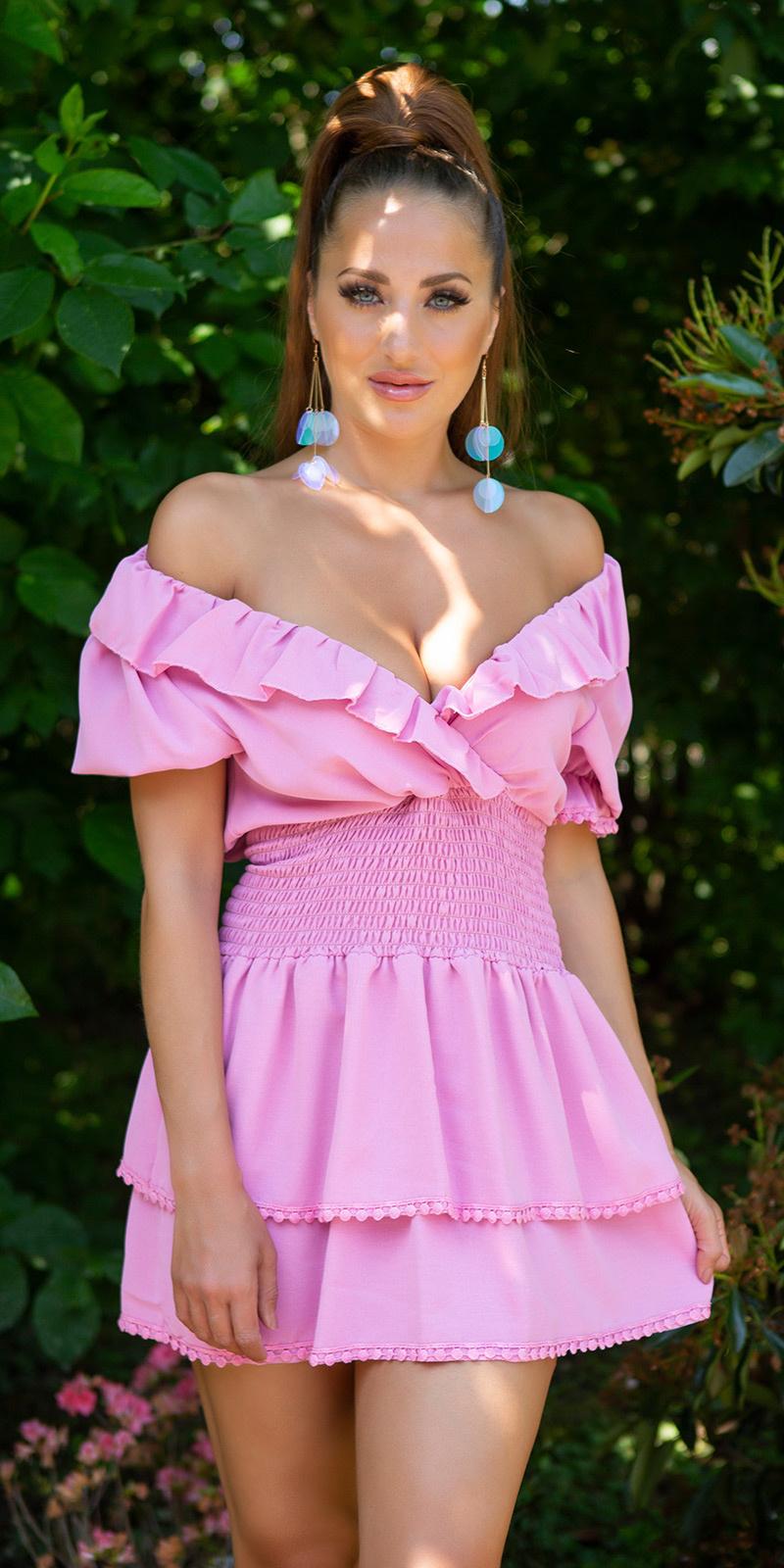 Sexy v-halter feminine jurk met ruches roze