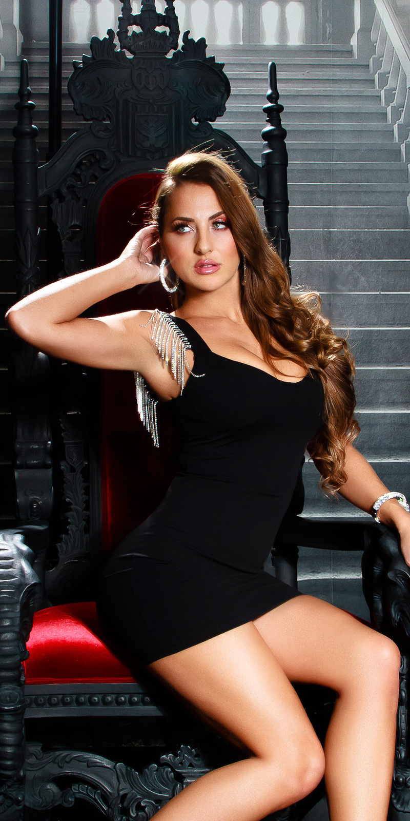 Sexy Mini Black Dress with Metallic Fringe Black