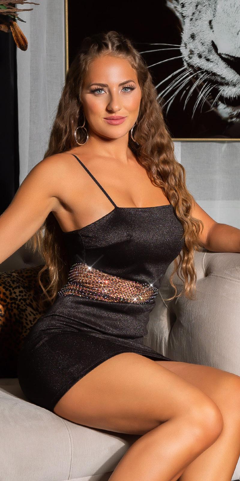 Sexy jurk met sparkling net streep zwart