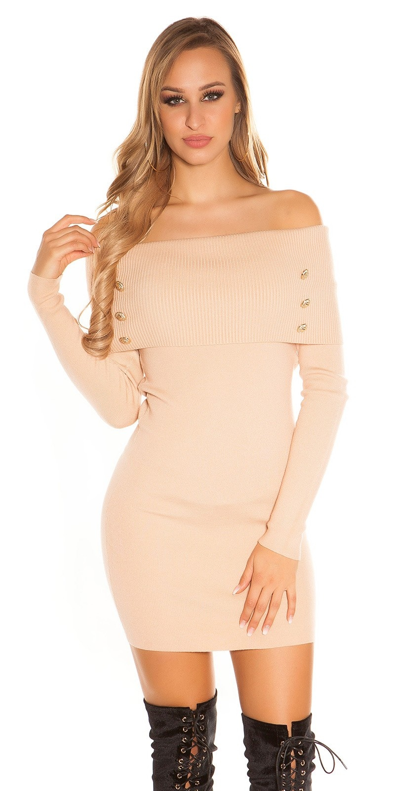 Sexy knit dress carmen neck & deco buttons Beige