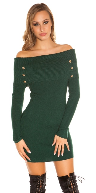 Sexy knit dress carmen neck & deco buttons Green