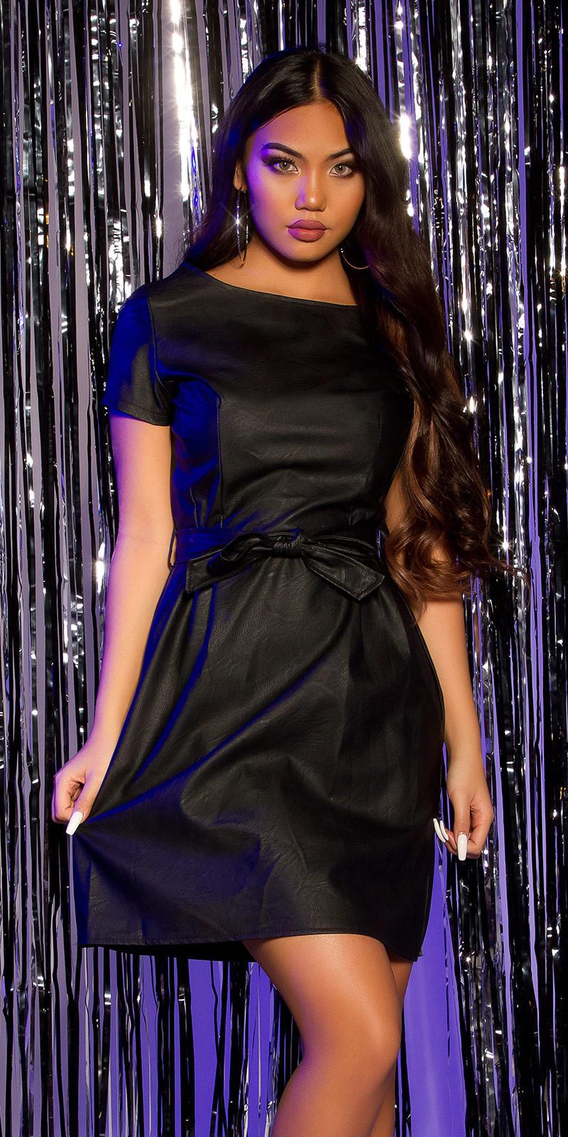 Sexy korte mouw lederlook jurk met riem zwart