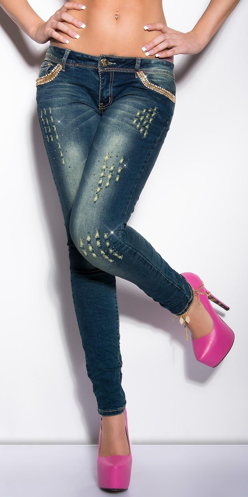 Sexy skinny jeans met studs en strass steentjes jeansblauw