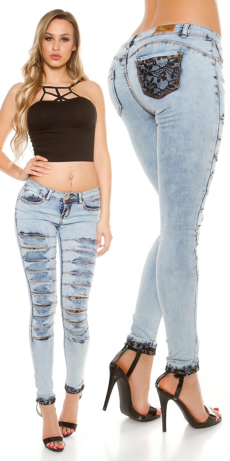 Sexy Koucla-Jeans with lace & sexy cut outs Jeansblue