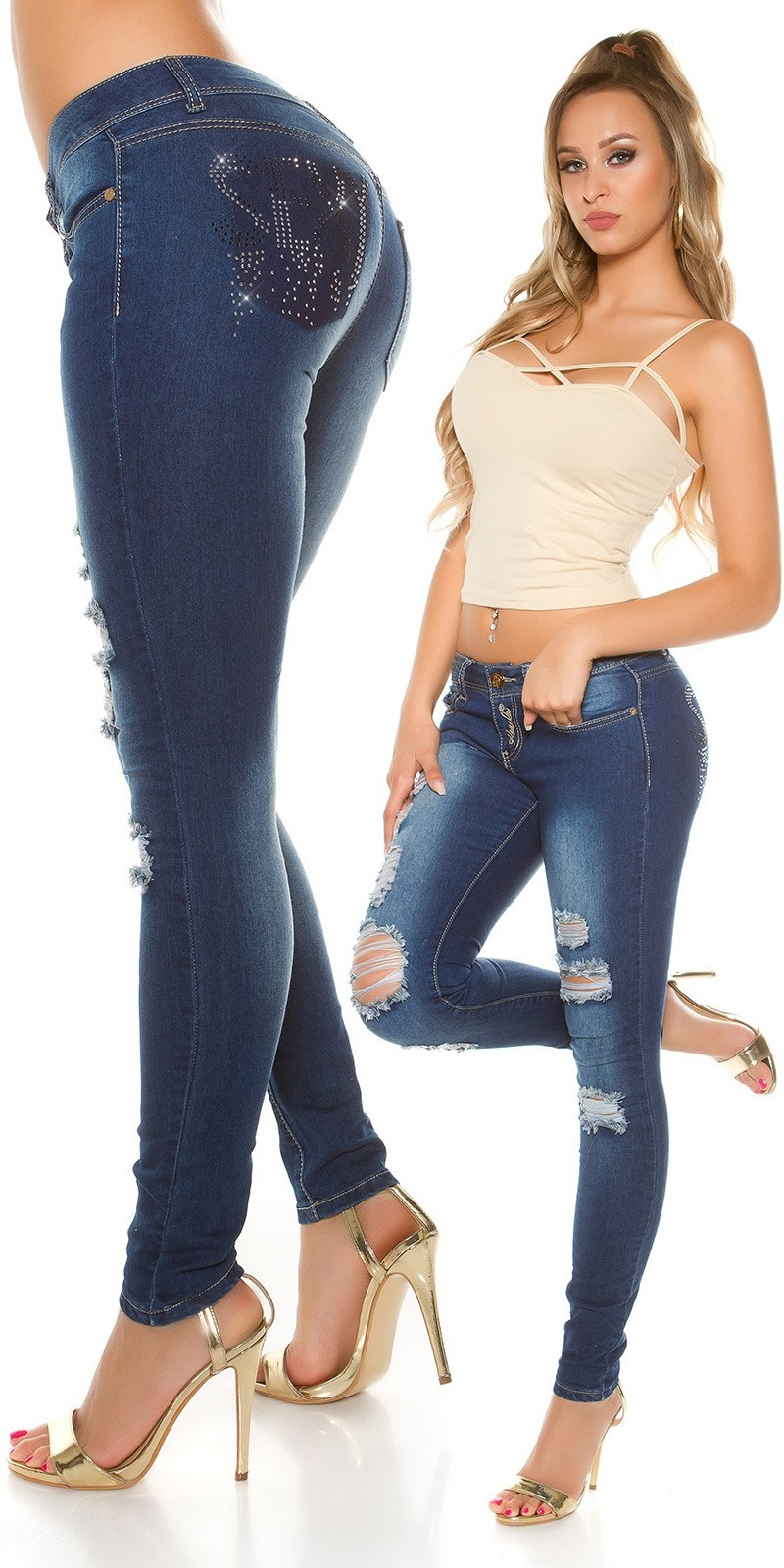 Sexy skinny jeans used met strass steentjes jeansblauw