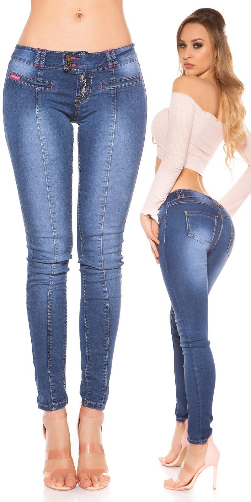 Sexy KouCla Skinny Jeans with rhinestones Jeansblue