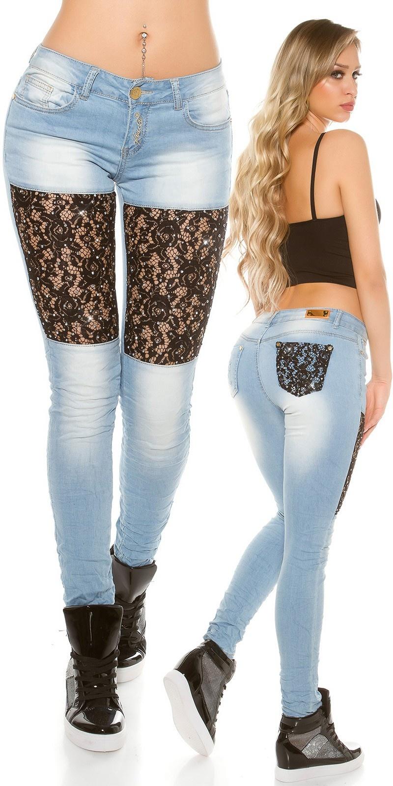 Sexy skinnyjeans met kant + strass steentjes jeansblauw