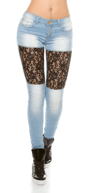 Sexy Koucla skinnyjeans with lace+rhinestones Jeansblue