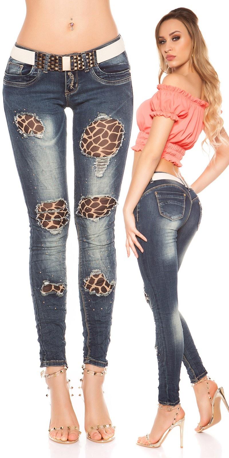 Sexy Koucla-skinnies w. rhinestones & belt Jeansblue