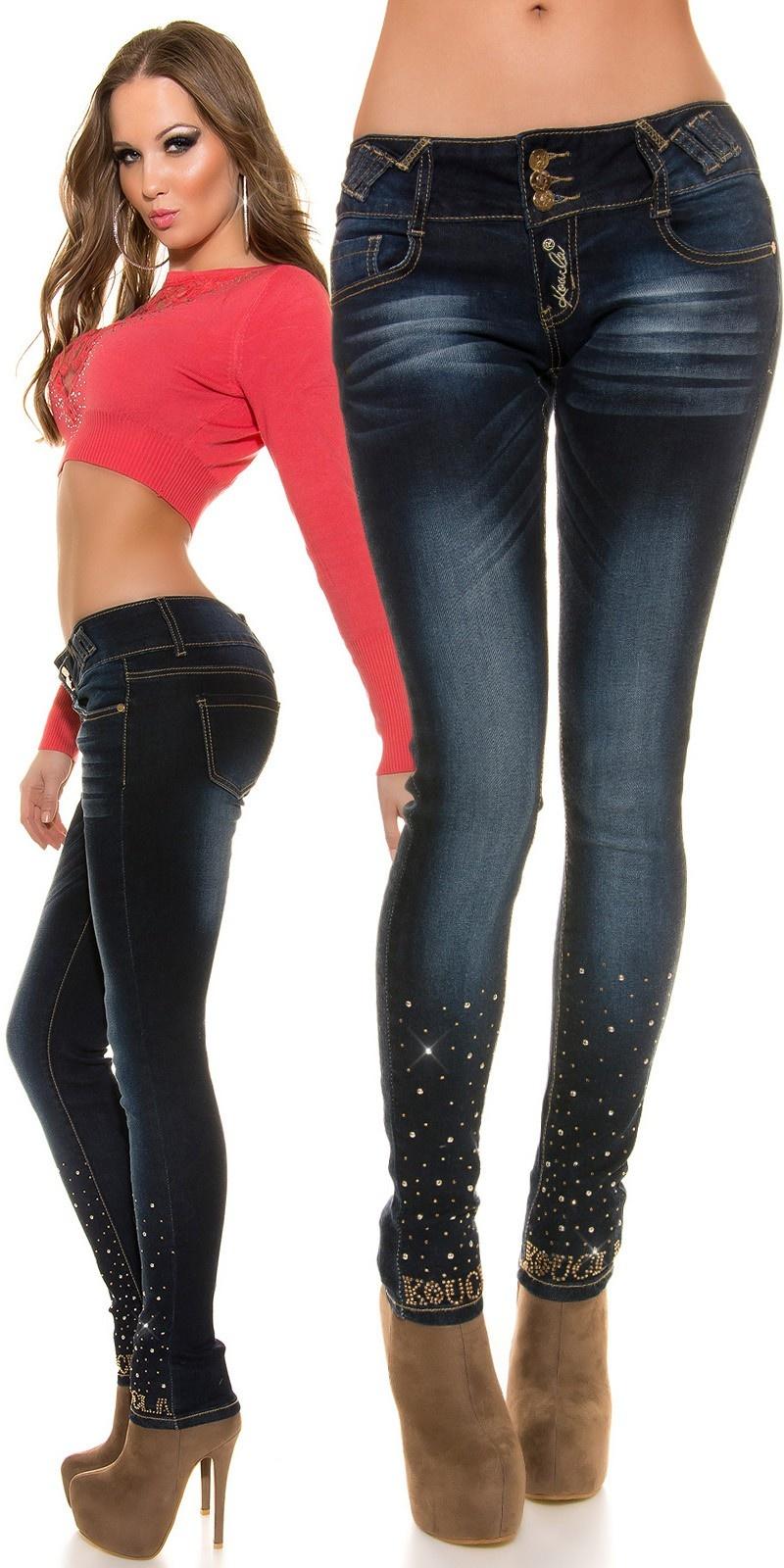 Sexy skinny jeans met strass steentjes & studs jeansblauw