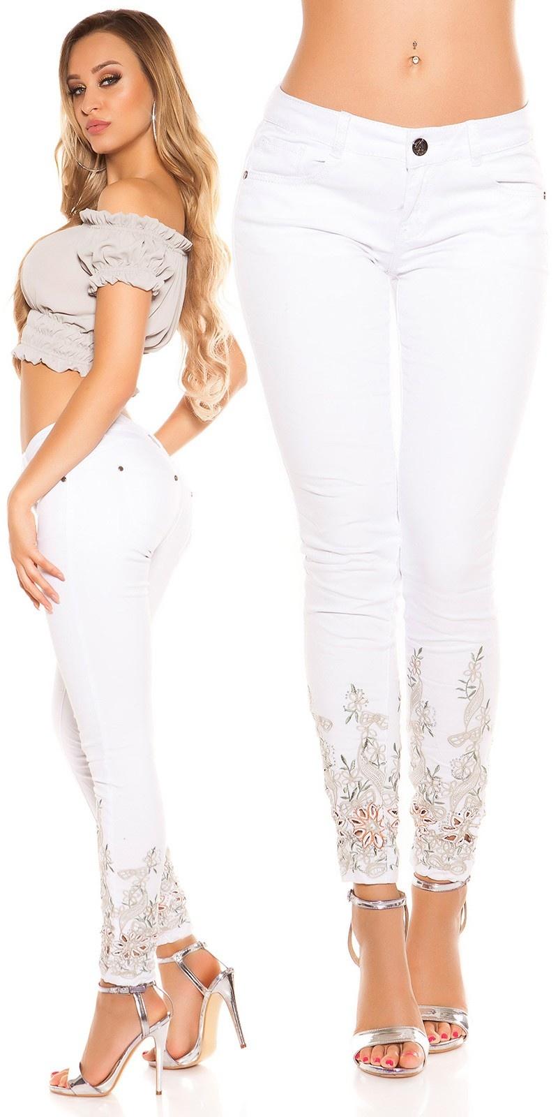 Sexy KouCla push-up skinnies w.embroidery&rhinesto White