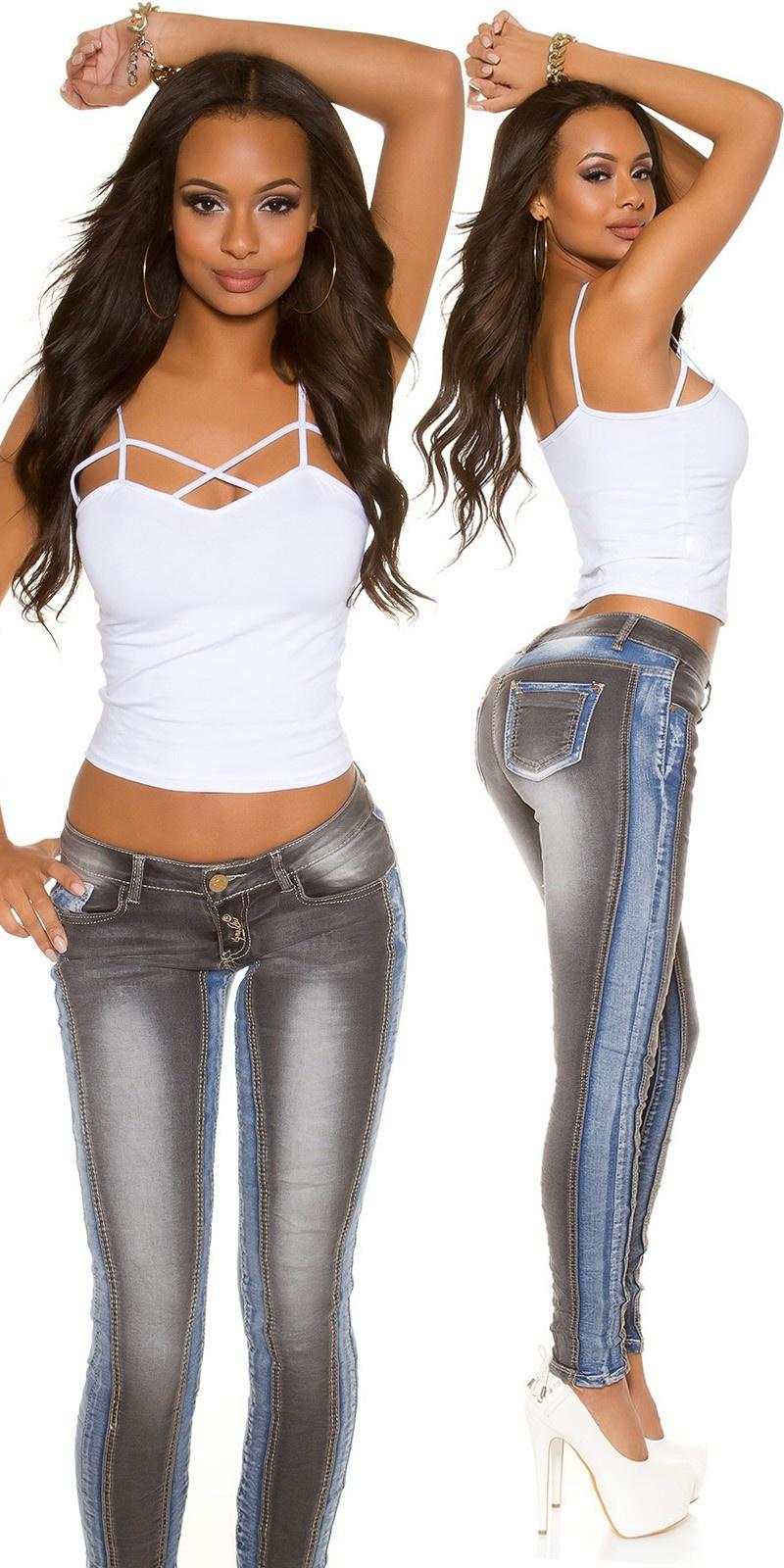 Sexy KouCla Skinny Jeans Bi-Color Blackblue