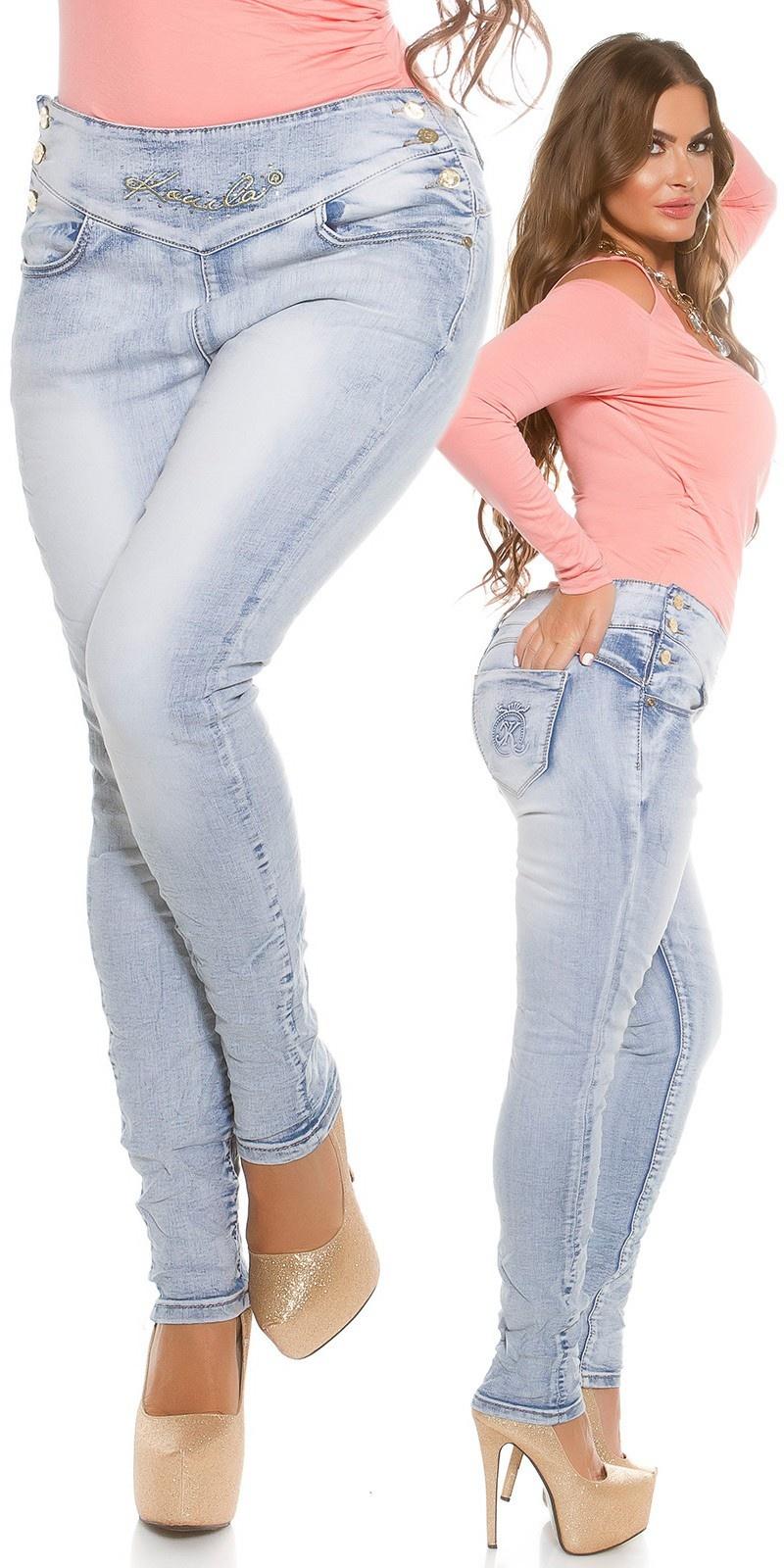 Curvy girls! skinny jeans, zijknopen jeansblauw