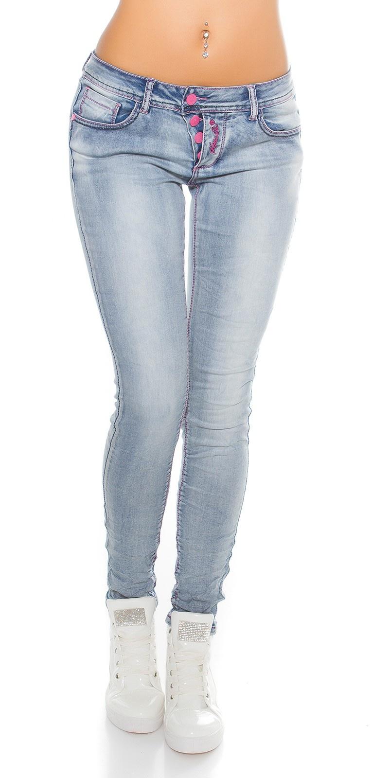 Skinny Push Up Jeans met roze knopen Blauw