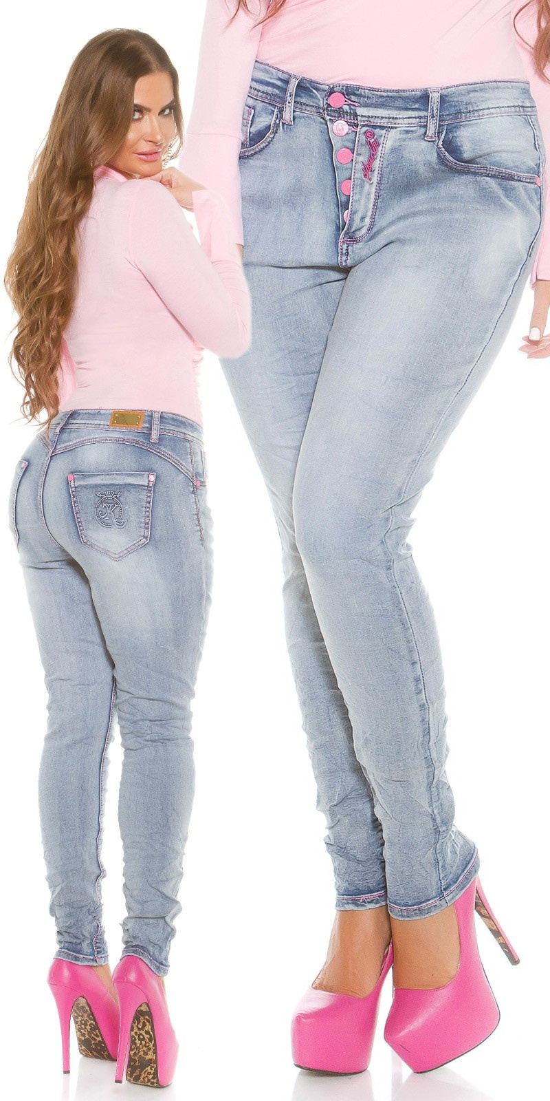 Curvy Girls! KouCla Skinny PuSH UP Jeans Jeansblue