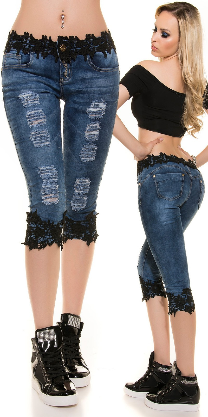 Sexy KouCla Capri Jeans Used look with lace Black