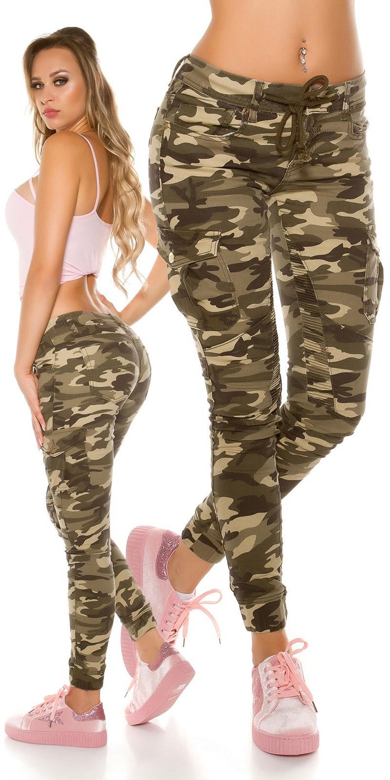 Trendy skinny camouflage cargo-jeans leger-kleurig