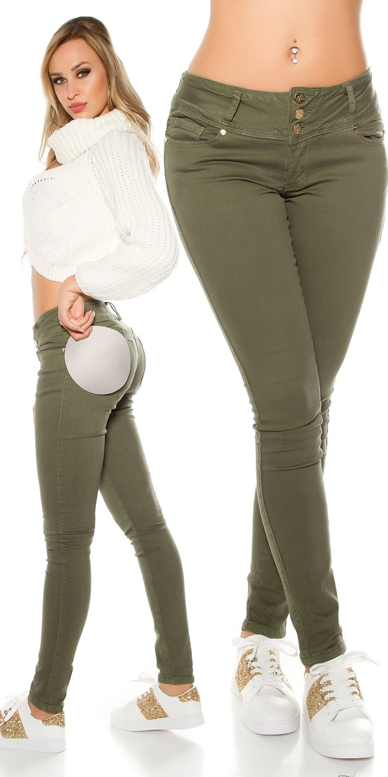 Sexy Koucla MAGIC BOOTY Push Up skinnyJeans Khaki