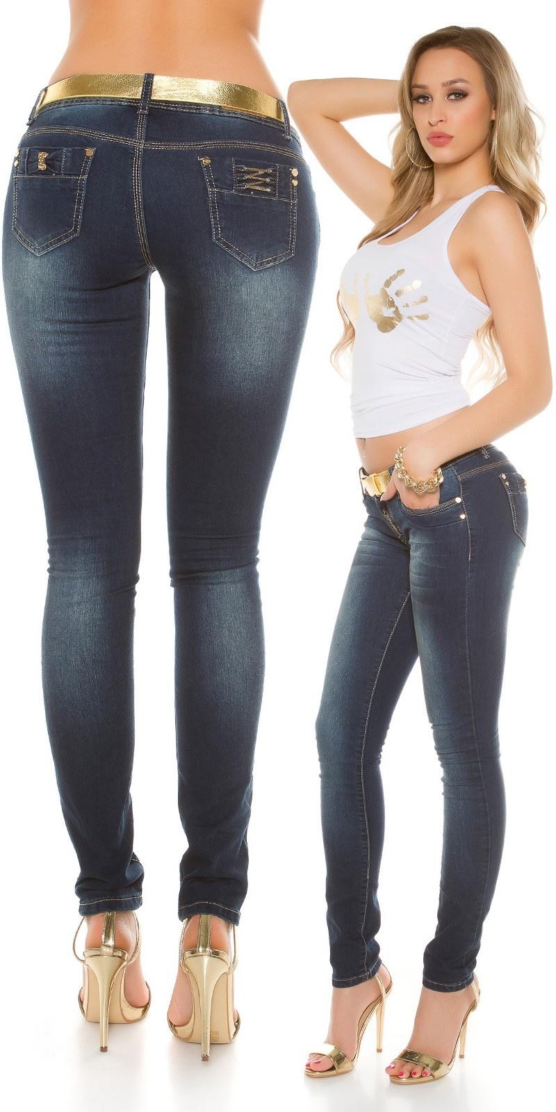 Sexy skinny jeans met gouden riem jeansblauw