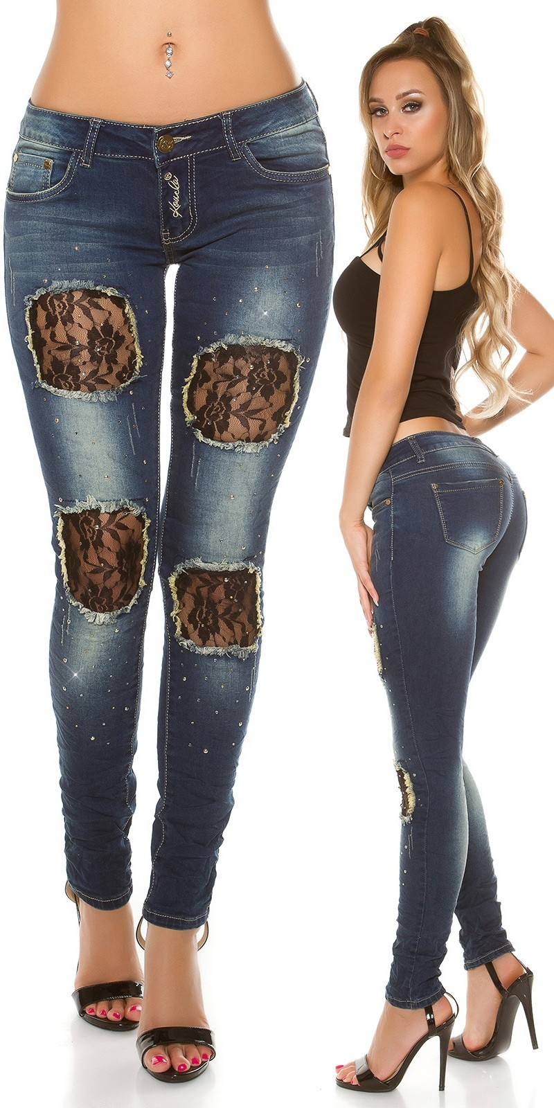 Sexy KouCla Skinny with lace-applications Jeansblue