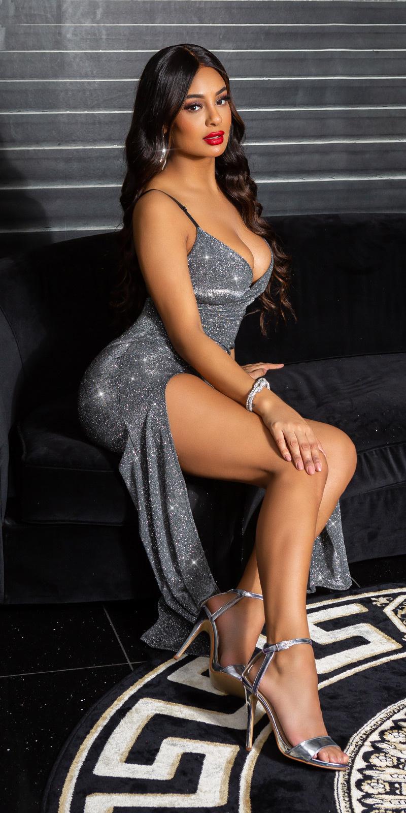 Sexy v-halter sparkling jurk met split antraciet