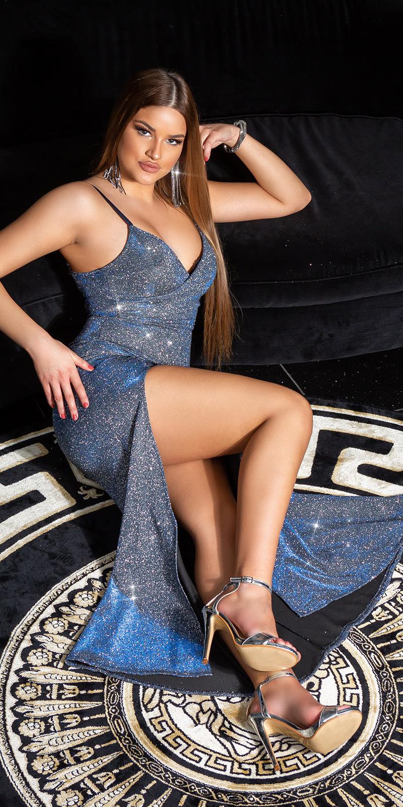 Sexy v-halter sparkling jurk met split blauw
