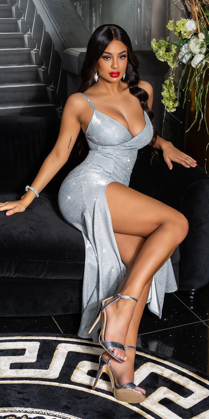 Sexy v-halter sparkling jurk met split zilver