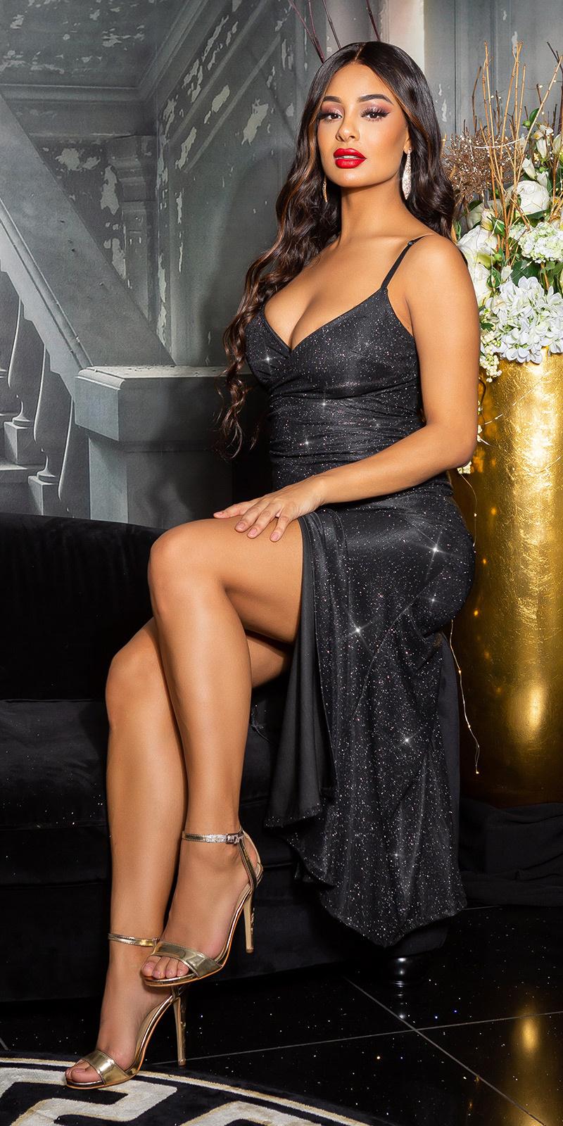 Sexy v-halter sparkling jurk met split zwart