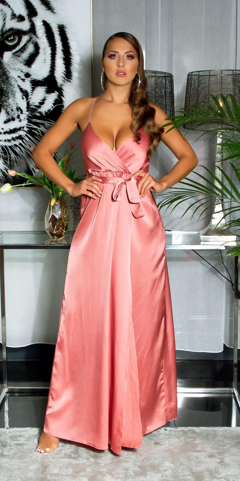 Sexy satijn-look maxi jurk in wikkel-look abrikoos-kleurig