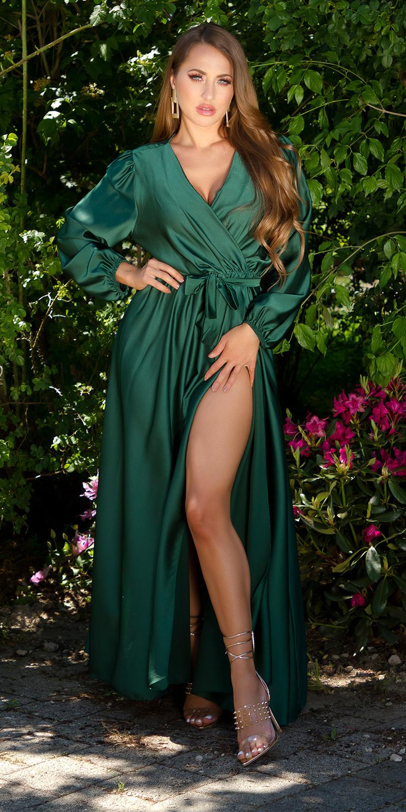 Sexy satijn maxi jurk wikkel-around look khaki