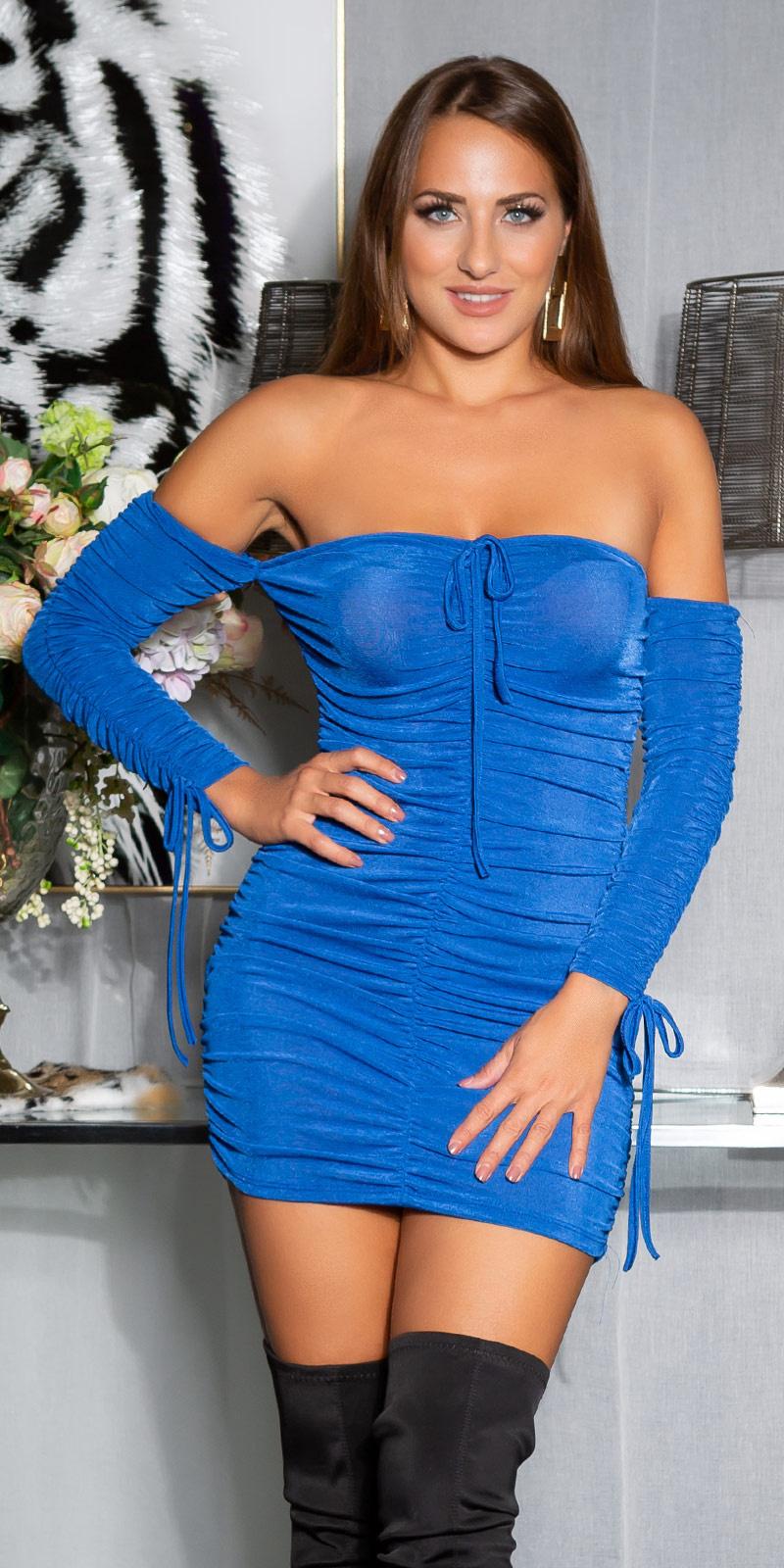 Sexy off-shoulder ruffled jurk blauw