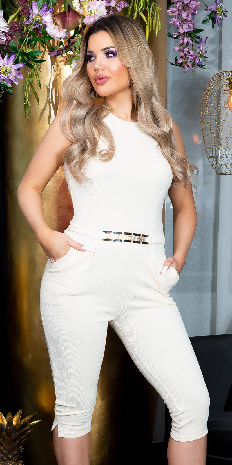 Sexy KouCla capri jumpsuit with gold buckle Beige