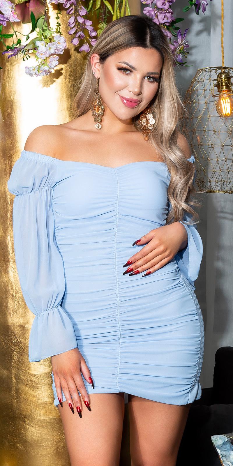 Sexy zomerjurk volant-geplooid blauw