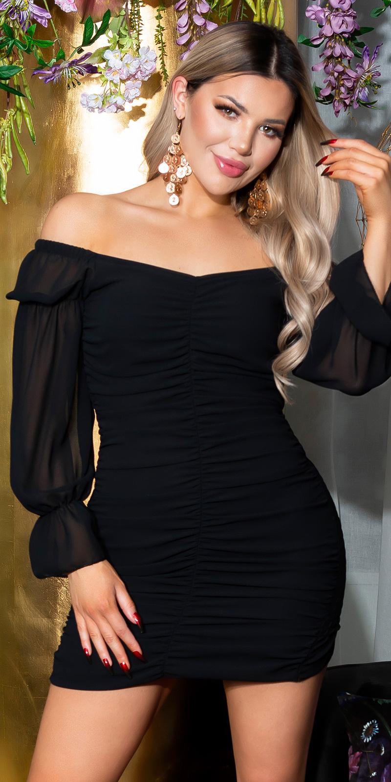 Sexy zomerjurk volant-geplooid zwart