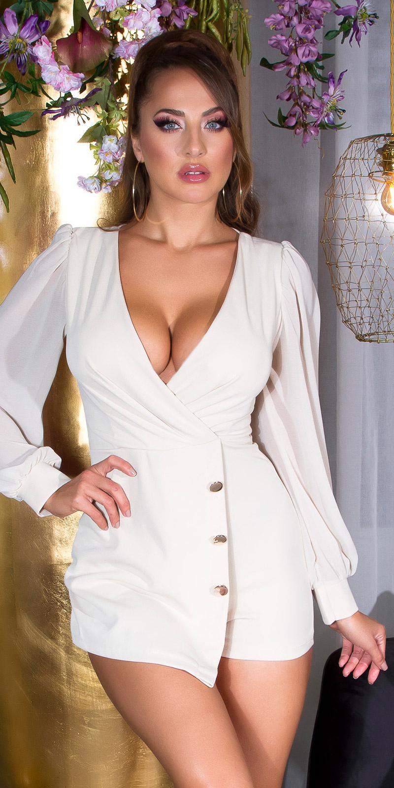 Sexy wikkel-around look overall met puffed mouwen beige
