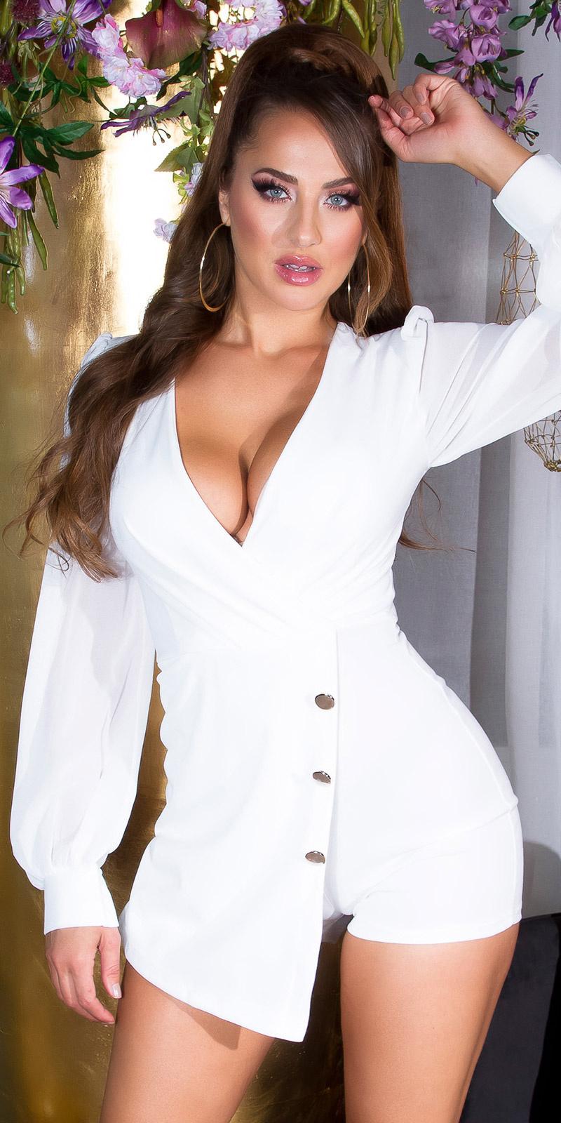 Sexy wikkel-around look overall met puffed mouwen wit