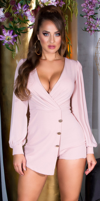 Sexy Wrap-around look Overall with puffed Sleeves Pink