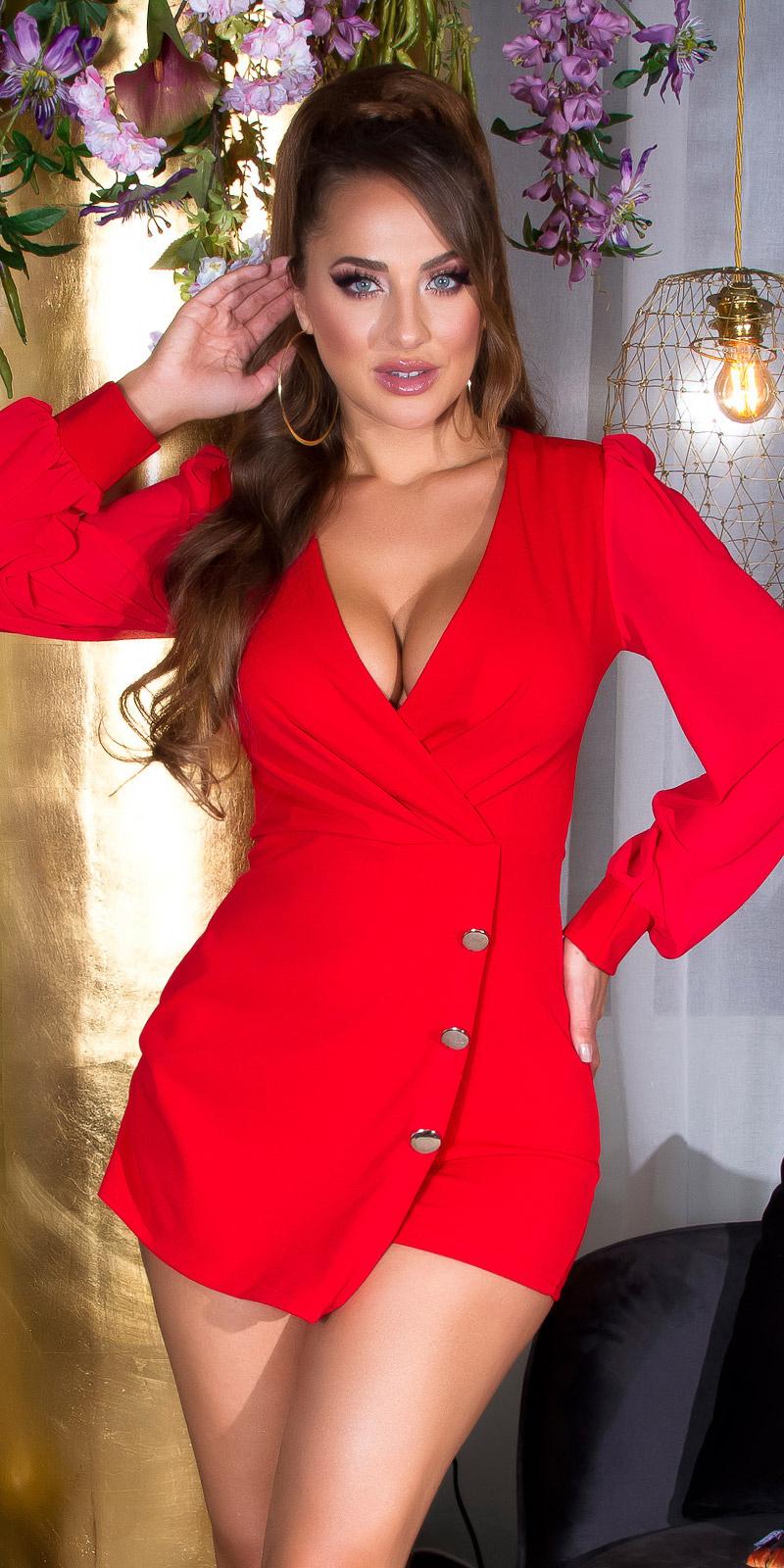 Sexy wikkel-around look overall met puffed mouwen rood