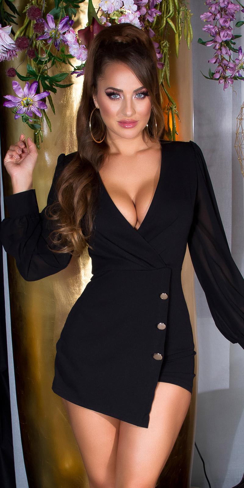 Sexy wikkel-around look overall met puffed mouwen zwart
