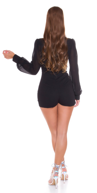 Sexy Wrap-around look Overall with puffed Sleeves Black