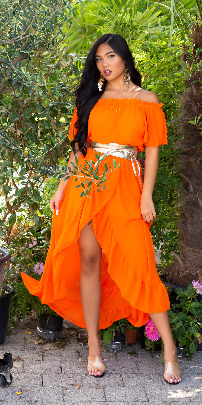 Sexy off- shoulder maxijurk goddess-look oranje