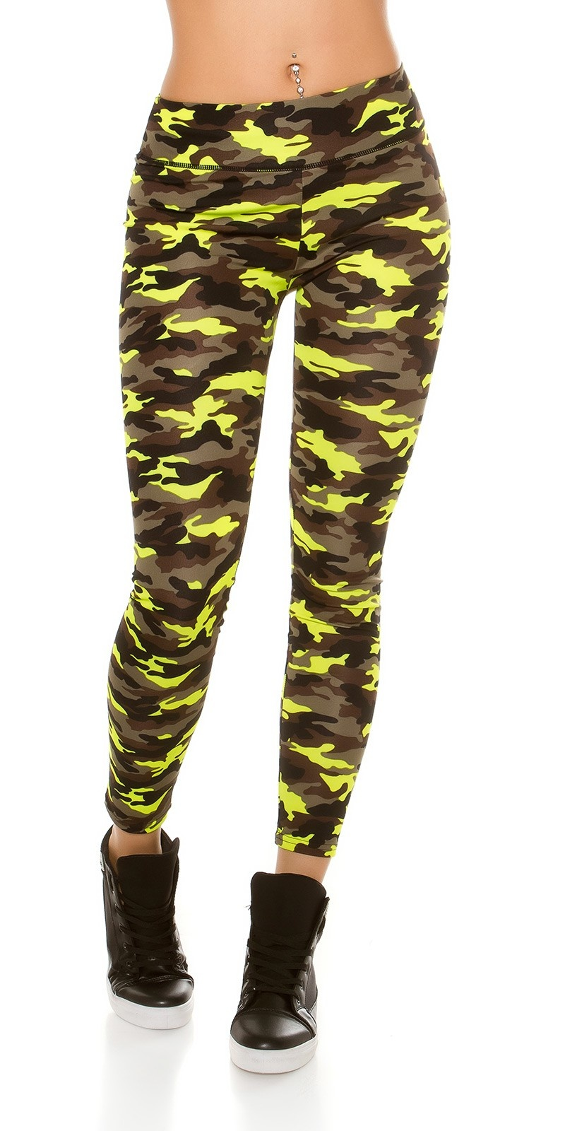 Trendy workout-sport leggings in camouflage neongeel