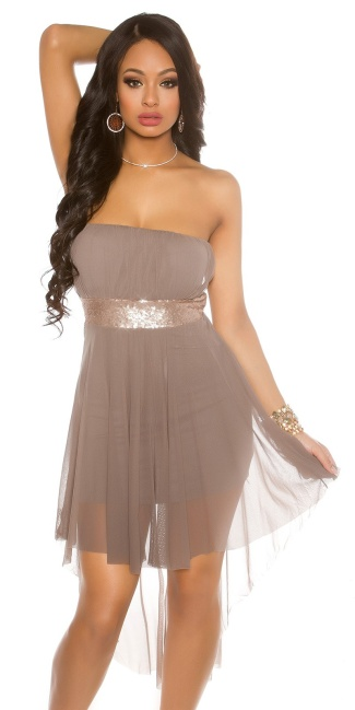 Sexy Bandeau-Partydress, long on the back Taupe