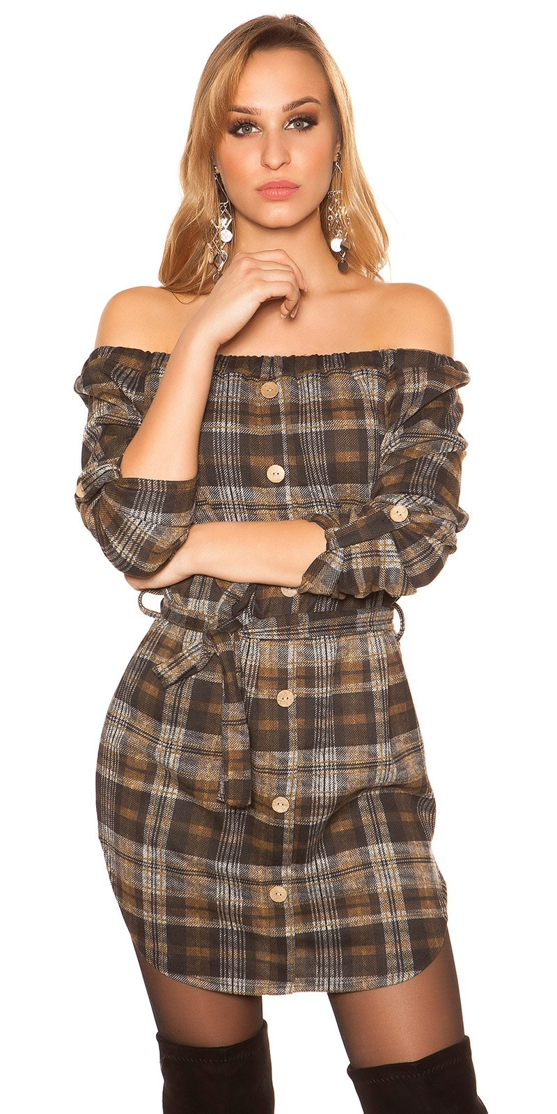 Sexy mini dress checkered with belt Brown