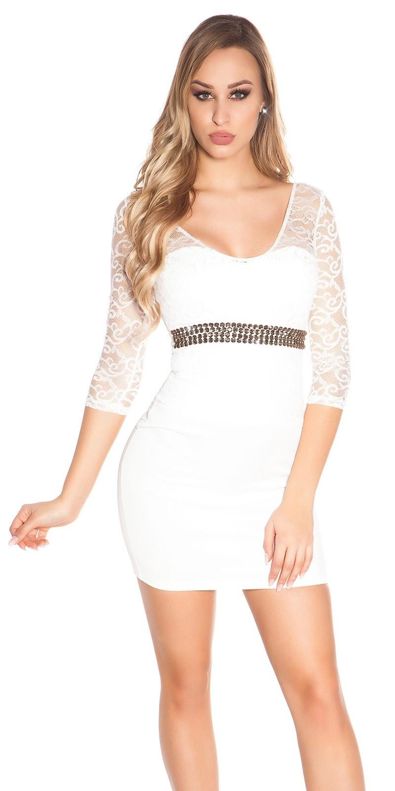 Sexy mini jurkje met kant en steentjes wit