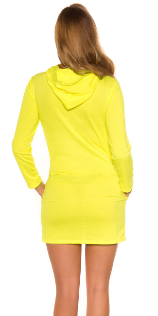 Trendy sweat dress with hood and print Neonyellow