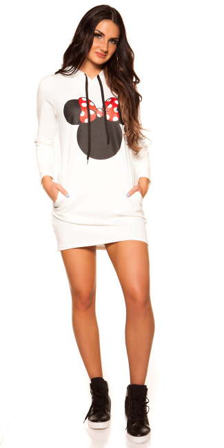 Trendy sweat dress with hood and print White