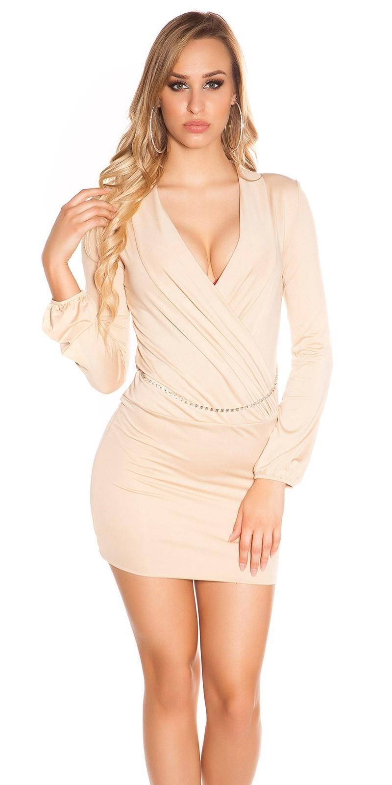 Sexy mini jurkje in wikkel look met riem beige
